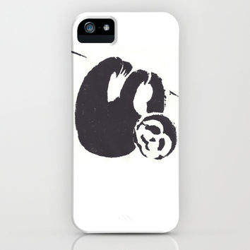 Tree Sloth iPhone & iPod Case by Ccaracal: Black and White Stencil Art