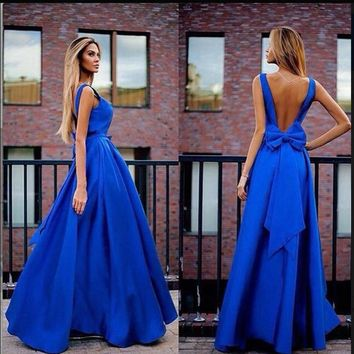 V Neck Blue Dresses