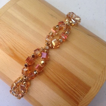 Sunshine, bracelet, Yellow crystals, magnetic clasp bracelet, crystal jewelry, gold and crystal bracelet