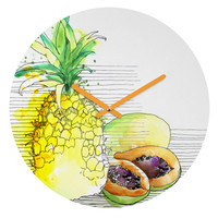 Deb Haugen Pineapple Smoothies Round Clock