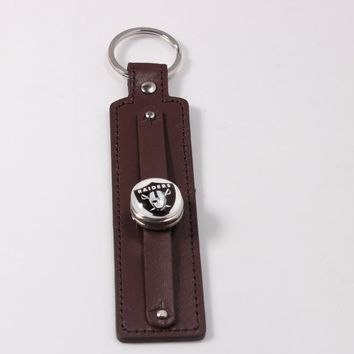 2018 America Football Keychains Key Ring Oakland Raiders Key Chains Jewelry 18mm Snap Button Keychain 8 Colors Leather Style