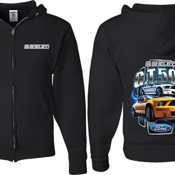 Ford Mustang Full Zip Hoodie Shelby Yellow and White Front and Back