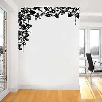 Floral Border Silhouette Vinyl Wall Decal Sticker Graphic