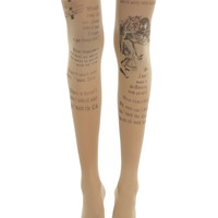 Blackheart Alice In Wonderland Sheer Storybook Tights