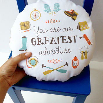 Our Greatest Adventure Cuddle Cushion 12 inch round accent pillow modern outdoorsy children nursery decor primary colors white cotton twill