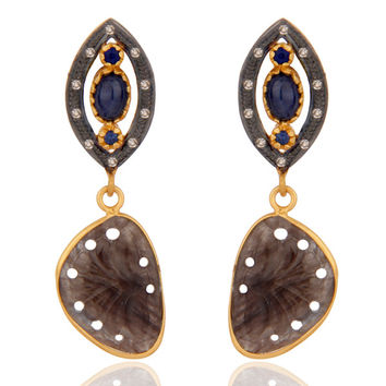 Pave Diamond Gemstone 925 Sterling Silver Designed Blue Sapphire Carving Earring