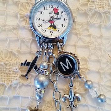 Silver Minnie Mouse Watch Necklace, Minnie Mouse Charm Necklace, Walt Disney Watch, Letter M Typewriter Key, 24 Inch Chain, Disney Jewelry