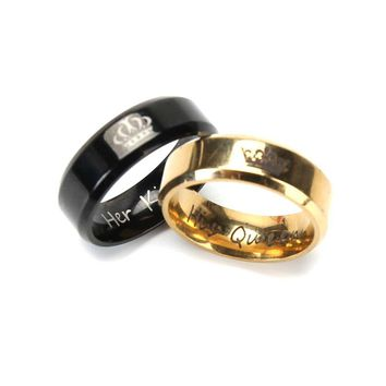 Cool 2018 Fashion Her King And His Queen Crown Ring For Women Men Black/Gold Color Couple Wedding Ring Promise JewelryAT_93_12
