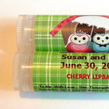 10 Wedding Owls Lip balm Favors - custom color & flavor, personalized lip balm,  owl wedding favors, bridal shower, romantic owl favors  A3