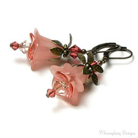 French Pink Floral Crystal Earrings by whimsydaisydesigns on Etsy