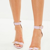 Missguided - Pink Large Buckle Detail Barely There Heels