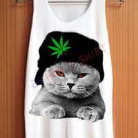 CAT Shirt Hat WEED Shirts Cannabis Marijuana Animal Shirt Top Tank Top Tee Tunic Singlet Women