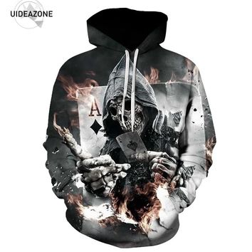 Ace of Diamonds Skull Hoodies Men/Women 2017 Autumn Brand Clothing Ropa Deportiva Hombre Casual 3D Hoodie Sweatshirt NBL10811