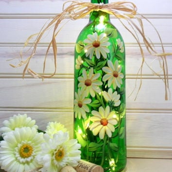 Lighted Wine Bottle White Daisies Green Hand Painted 750 ml
