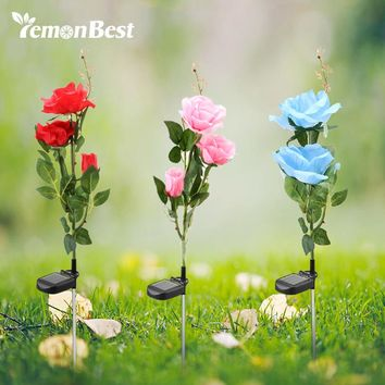 Lemonbest 3 LED Solar Powered Lawn Pink Rose Lights Waterproof IP65 Flower Christmas Decoration for Home Garden Yard Landscape