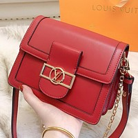 LV Louis Vuitton New solid color leather shoulder bag crossbody bag Red