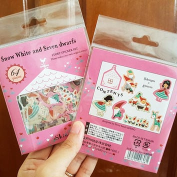64 PCS, Snow White sticker, Disney Princess, Disney sticker, Dwarf sticker, Seven Dwarfs, Fairytale, Fairy Tale, Shinzi Katoh