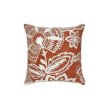 Bh&G Coral Floral Chenille Decorative Pillow