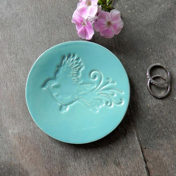 Bird Turquoise Ceramic Trinket Dish, Mother's Day Lace Bird Ring Dish, Wedding Gift, Pottery Plate, Turquoise Ring Holder