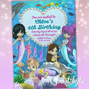 Mermaid birthday invitations customised from frostbyte on etsy mermaid birthday invitations customised with your party details under the sea theme digital filmwisefo