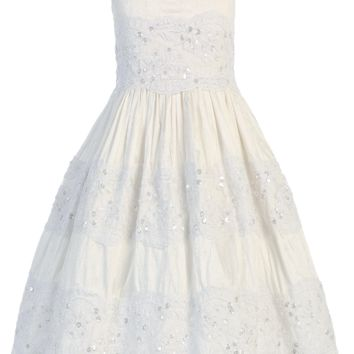 100% Silk w Embroidered Lace Off-White First Holy Communion Dress (Girl's Sizes 6 to 14)
