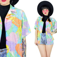 vintage 90s pastel safari shirt oversized soft grunge neon palm tree blouse button up top kawaii small medium paper thin