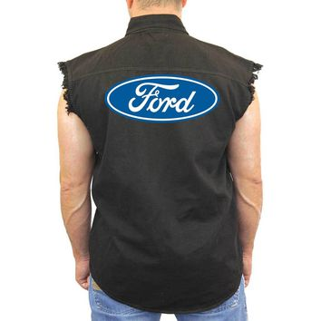 Men's Sleeveless Denim Shirt FORD Built Tough Biker