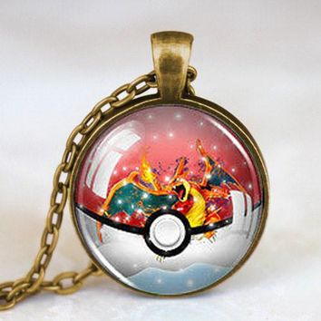 Pokemon Anime Snow Globe Pokeball Fashion Necklace for Christmas.