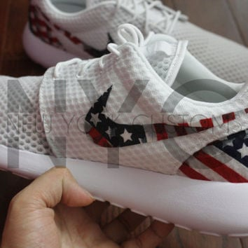 Nike Roshe Run BR White American Flag Pride Print Edition Custom Men & Women