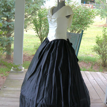 1980s Vintage Black and White Satin Southern Belle Bridesmaid Dress