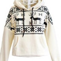 White Deer Hooded Cotton Loose Sweatershirt