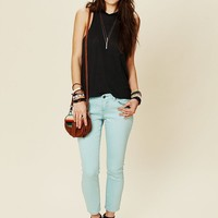 Free People 5 Pocket Ankle Crop Skinny Denim Pale Blue Mint $68 5 Star Reviews