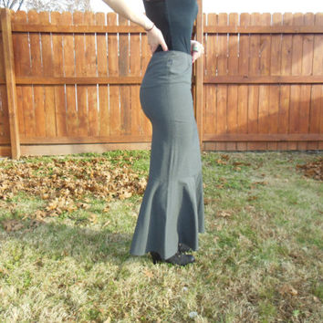 Vintage Moschino jeans grey, high waisted mermaid skirt US size 6.