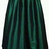 Emerald Green Pleated A Line Flare Ball Gown Midi Skirt