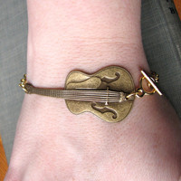 guitar bracelet golden acoustic by friendlygesture on Etsy