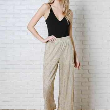Gold Pleated Shimmer Trousers-FINAL SALE