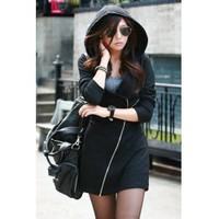 Wholesale Stylish Hooded Long Sleeve Solid Color Zippered Bodycon Coat For Women (BLACK,M), Hoodies & Sweatshirts - Rosewholesale.com