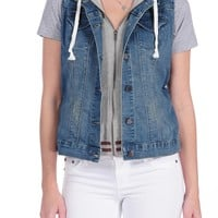 Tractr Denim Vest with Terry Insert