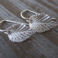 Silver Leaf Earrings, Leaf Dangle Earrings, Elm Leaf Earrings