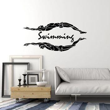 Vinyl Wall Decal Swimming Pool Swimmers Swim Water Sport Stickers Mural (ig6100)