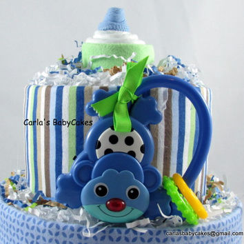 Boy Diaper Cake, Baby Diaper Cake, Blue Diaper Cake, Baby Shower Gift, New Baby Gift, New Arrival Gift, New Mom Gift, Shower Centerpiece