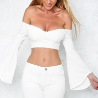 Happy Hippy Crop Top White