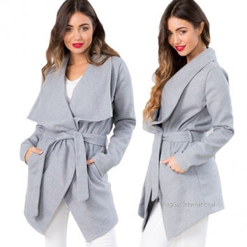 Stylish Lady Women Casual Solid Long Sleeve Irregular Asymmetric Long Coat Trench Windbreaker Outwear = 1838458756