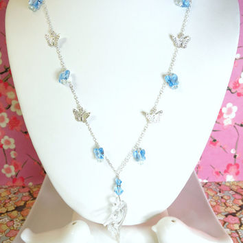 Cinderella blue Swarovski crystal butterfly sterling silver charm necklace