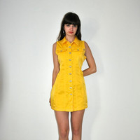 Vintage 90's Yellow Buttons Up Dress