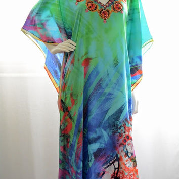 Greenish blue long Kaftan maxi dress Kaftan dress caftan floral dress beach dress