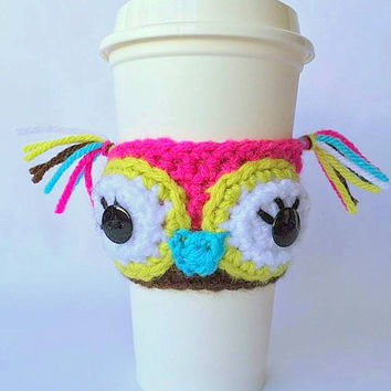 Coffee Cozy / Coffee Sleeve / Owl Coffee Cozy / Crochet Coffee Sleeve / Cup Cozy / Coffee Cup Cozy / Crochet Coffee Cup Cozy / Owl Cozy