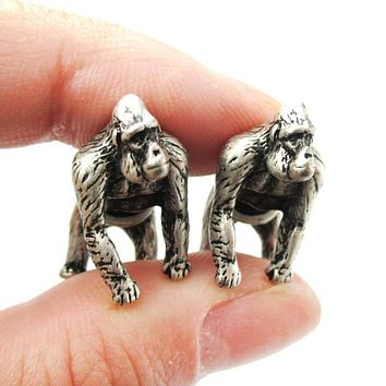 Fake Gauge Earrings: Realistic Gorilla Monkey Shaped Animal Themed Stud Earrings in Silver