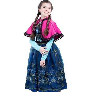 Baby Summer Snow Queen Princess Anna Elsa Flower Lace Dress For Girls Children Kids Vestidos Teenager Dressess Clothing 3-12Y