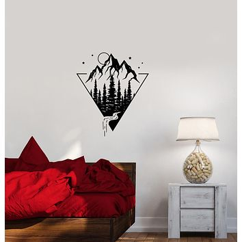 Vinyl Wall Decal Nature Mountains Forest Landscape Stickers (4014ig)